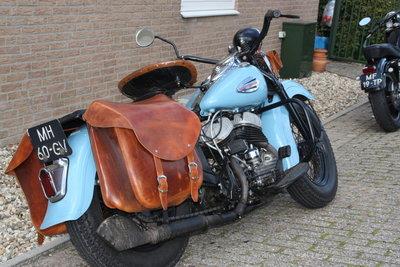 Harley Davidson Hardtail met choppertas, cognac nerfleder, 32L, J3931