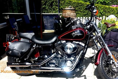 Harley Davidson Lowrider motortas, zwart nerfleder, 2x13,5 L, C4080z