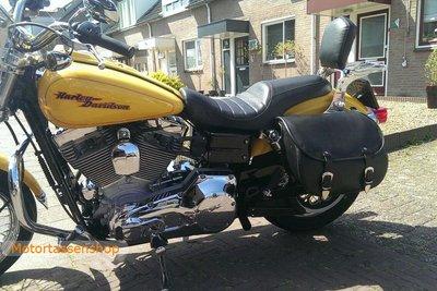 Harley Davidson Dyna met motortas, zwart nerfleder, 25L, P5501zn