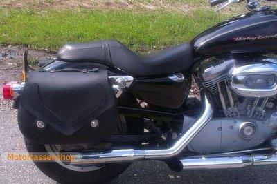 Harley Davidson Sportster motortas, zwart leder, 2x25L, G3070s