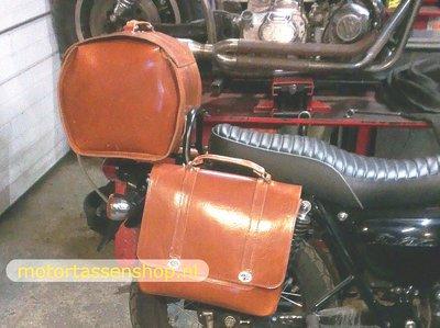 Kawasaki W800  motortas nerfleder cognac, 1x18L, Posttasc