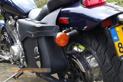 Honda VLX600 motortas zwart leder, 2x13L, C2050s
