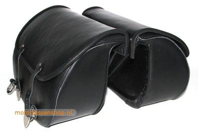 Motortas-set Classic, zwart nerfleder, polyester frame, 2x25L, P5501z