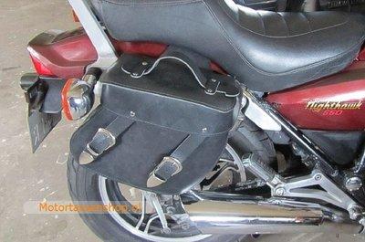 Honda Shadow met motortas, zwart nerfleder, 2x11L, A5050s