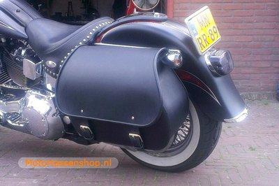 Harley Davidson Softail met Bigbag, zwart nerfleder, 40L, P6900