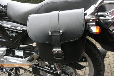 Yamaha motortas, zwart leder, 2x9 L, A100