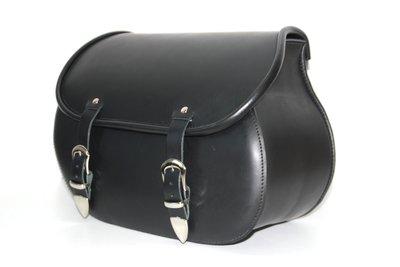Motortas Classic,glad zwartleder, polyester frame, 1x25L, P5501s